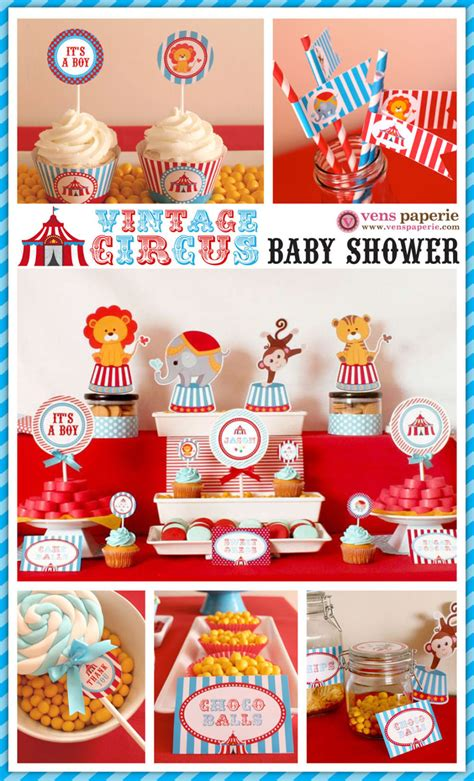 Circus Baby Shower vintage blue carnival circus baby shower package by venspaperie