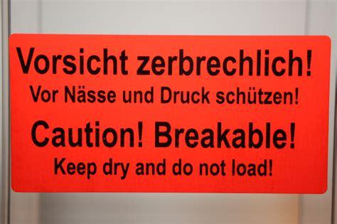 Etiketten Englisch by 40 X Etikett Vorsicht Zerbrechlich Und Englisch