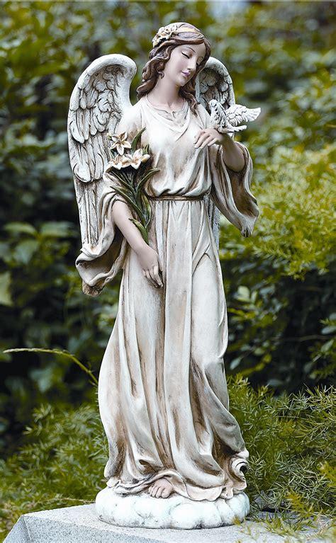 angel sculptures joseph s studio garden angel statue holding a dove buy