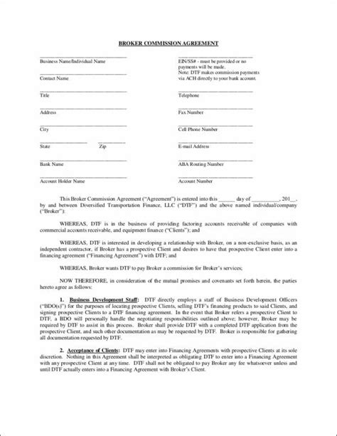 broker commission agreement template 9 sales commission agreement sles templates free