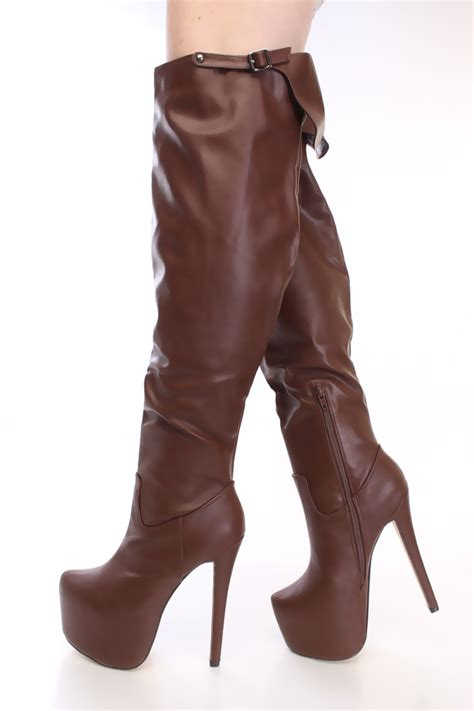 brown thigh high boots brown thigh high platform boots faux leather
