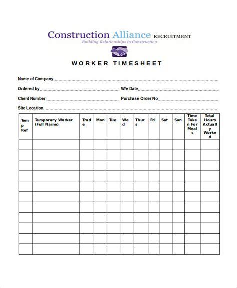 28 Printable Timesheet Templates Free Premium Templates Timesheet Template For Construction Industry