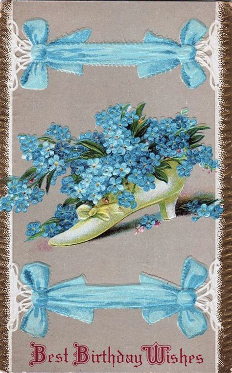 vintage birthday card shoe  forget  nots  graphics fairy