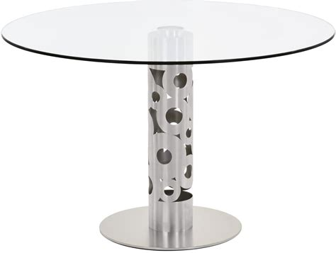 brushed stainless steel and glass dining table berlin 48 quot glass and brushed stainless steel dining