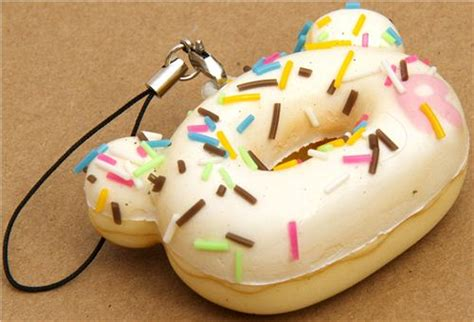 Toys Donuts Whitesugar white rilakkuma donut squishy cellphone charm food