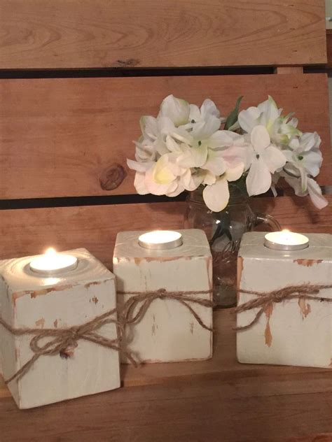 Handmade Wooden Candle Holders Wood Block Candle Holder Shabby Chic Tea Light Holders