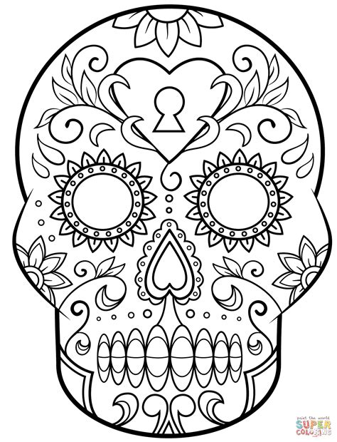 skull coloring sheets day of the dead sugar skull coloring page free printable