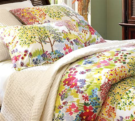 bedding barn pottery barn woodland organic duvet cover shams sweet greens