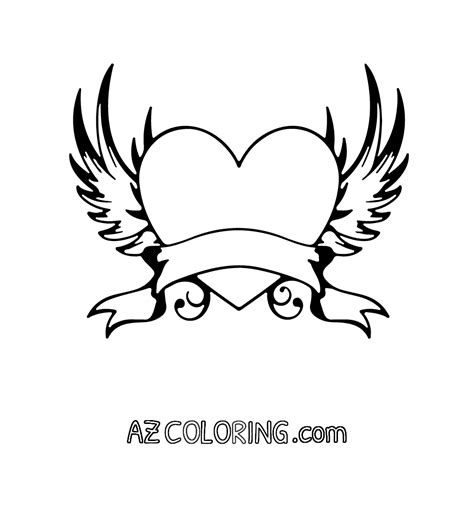 coloring pages heart with wings coloring pages of hearts with wings coloring home