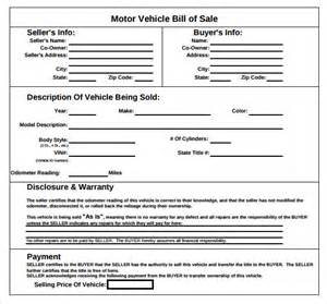 Free Motor Vehicle Bill Of Sale Template by Sle Vehicle Bill Of Sale Form 8 Free