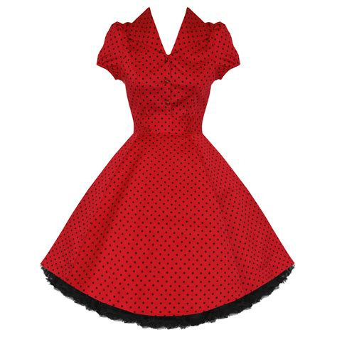 red polka dot swing dress ladies new red polka dot vtg 50s retro pinup rockabilly