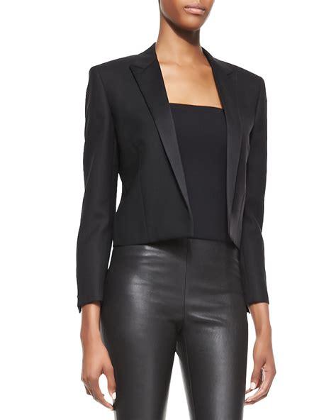 Black Blazer 1 laurent satinlapel cropped blazer in black lyst