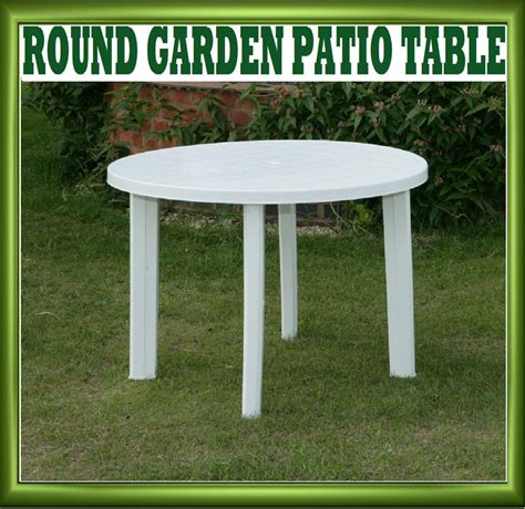 white plastic patio table new progarden white plastic garden patio table parasol holder slot 326703 ebay