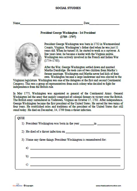 Biography Of George Washington For First Graders | free printable worksheets for 3rd grade