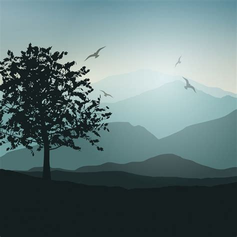 Landscape Vector Landscape Background With Trees And Birds Vector Free