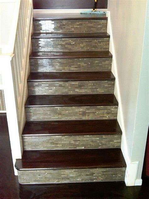 wood plank tile on staircase with white painted railings ideas best 25 tile stairs ideas on pinterest tiled staircase
