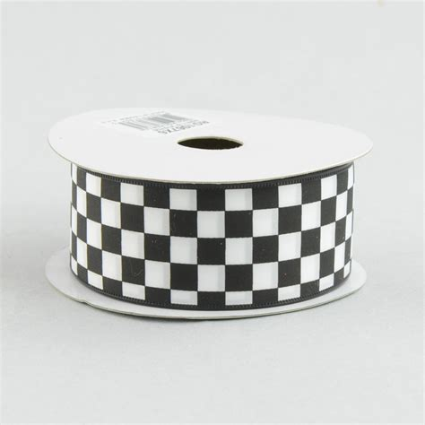 Bw Ribbon 1 5 quot black and white check ribbon 10 yards rg1067x6 craftoutlet