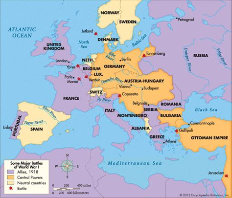 world war 1 map of europe map showing where the major battles of ww1 took place