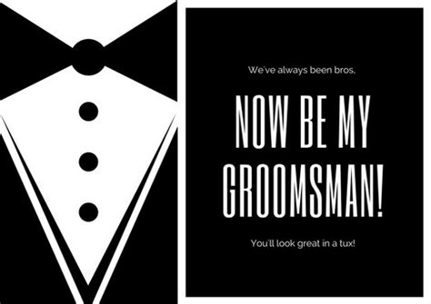 Black And White Tuxedo Wedding Groomsmen Card Templates By Canva Groomsmen Template