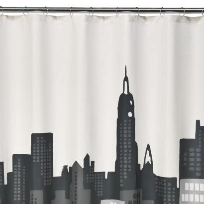 city scape shower curtain room essentials 174 cityscape shower curtain black gio