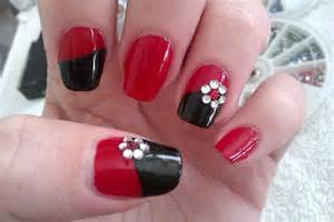 Simple diy nail art designs easy red and black nail 1