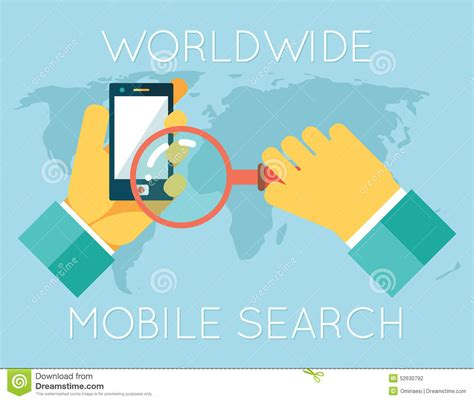 Phone Lookup Worldwide Worldwide Mobile Search Phone Magnifying Stock Vector Image 52630792