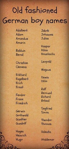fashioned german boy names finding character names