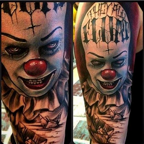 horror movie tattoo it pennywise clown stephen king horror tattoos