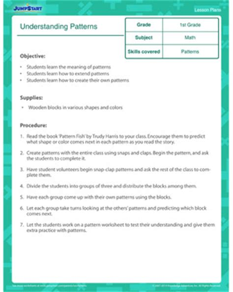 pattern lesson plans for kindergarten understanding patterns first grade math lesson plans