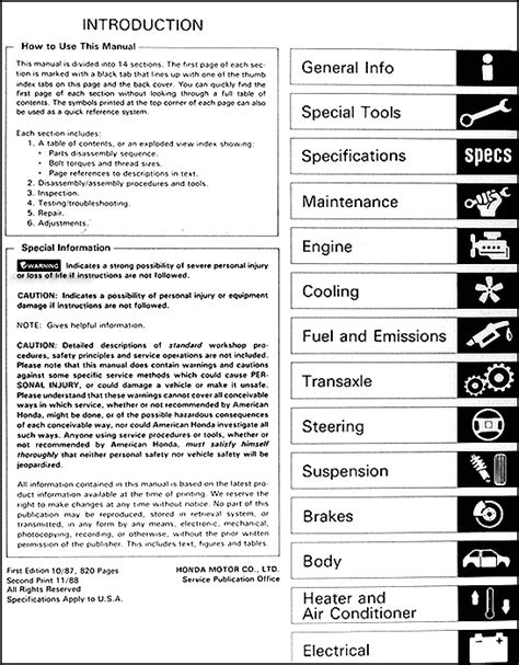 car repair manuals download 1988 honda cr x seat position control 1988 honda crx si repair shop manual