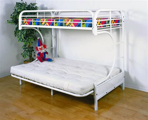white metal bunk bed with futon save big on twin over futon metal bunk bed white