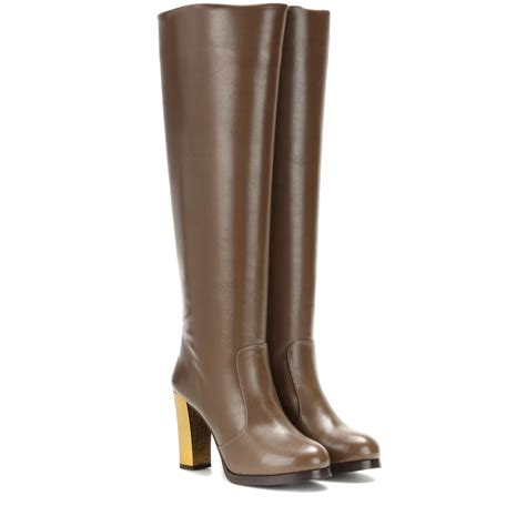 stella mccartney boots lyst stella mccartney faux leather knee high boots in brown