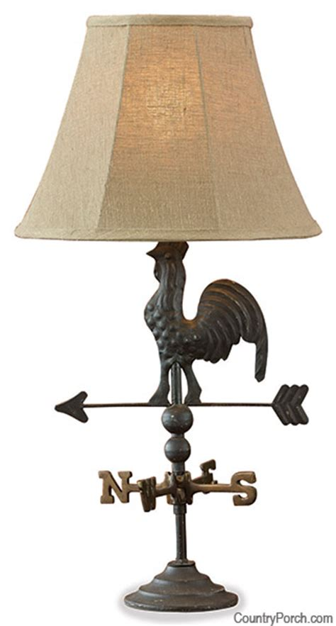 Distressed Table Black Rooster Weathervane Lamp