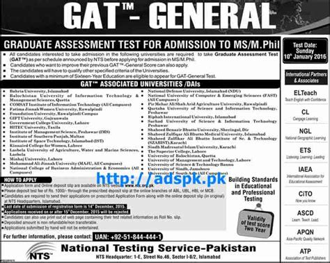 pattern paper of nts test nts gat general test sle papers latest gat general admission test 2015 16 of ms and m phil