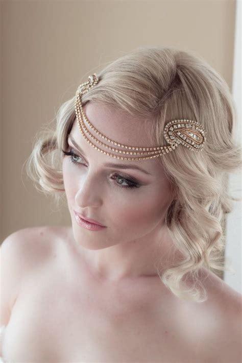 beaded bridal headpiece deco gold headpiece with vintage gold rhinestone halo