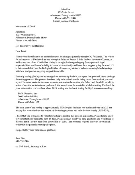 Divorce Verification Letter Divorce Source Paternity Verification Letter To From