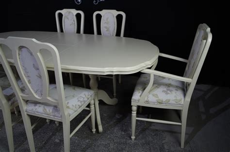 Mahogany Dining Table And 6 Chairs Extending Mahogany Dining Table And 6 Upholstered Panel Back Chairs Painted Vintage Antique