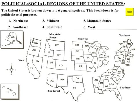 5 regions of the united states printable map american geography ppt 2012