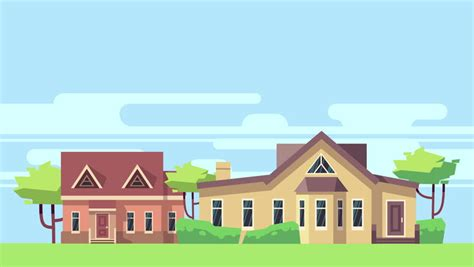house animated suburban houses strolling down the street stock footage
