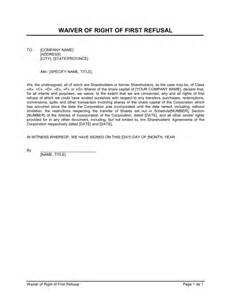 waiver template waiver of right of refusal template sle form