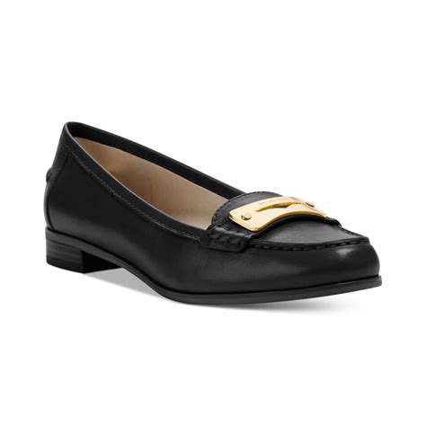 michael kors womens loafers michael kors tierlyn loafers in black black leather lyst