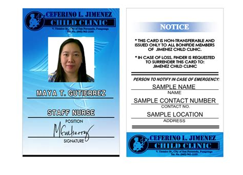 contractor id card template jimenez child clinic i d robcom