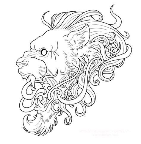 neotraditional lion wip tattoo project by fgore on