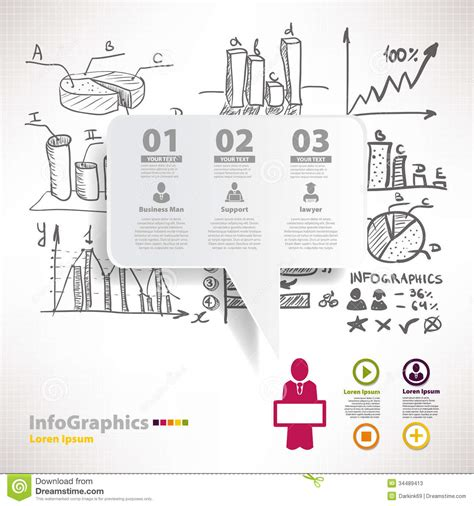 Modern Infographic Template For Business Design With Sketch Stock Vector Illustration Of Drawing Infographic Template