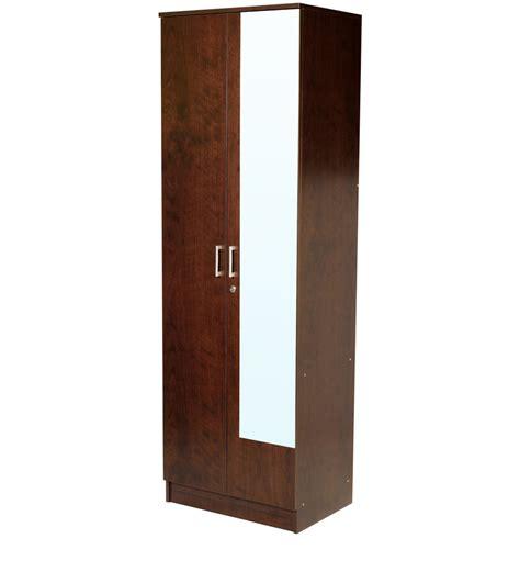 door wardrobe with mirror in walnut finish by