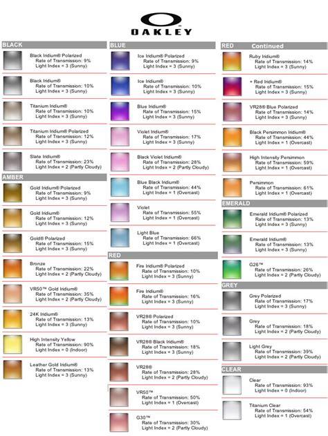 oakley lens colors 9 best images of prescription tints color chart eyeglass