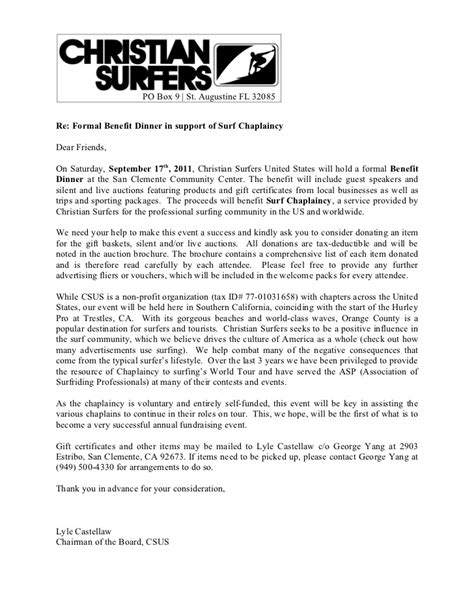 Fundraising Letter Salutation surf chaplaincy benefit donation request letter