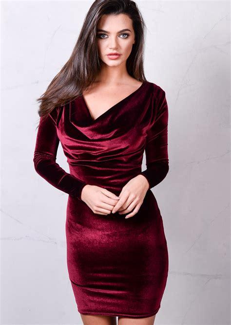 Sleeve Cowl Neck Dress sleeve cowl neck velvet bodycon dress burgundy