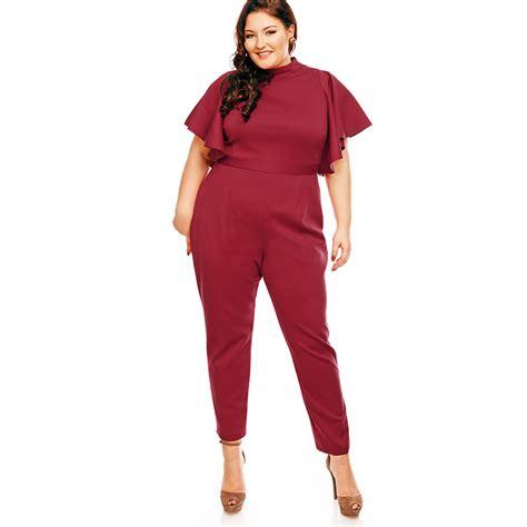 Jumpsuit Jumbo Jumpsuit Bigsize s high neck wide flare sleeve plus size jumpsuit n14461