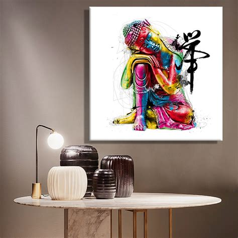 wall painting home decor aliexpress buy paintings canvas colorful buddha sitting wall decoration painting